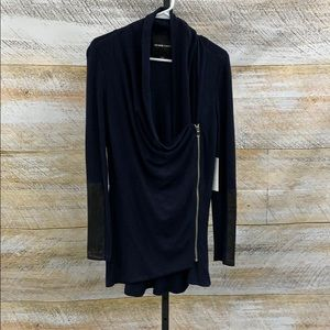 Cotton knit cardigan with zipper and leather trim